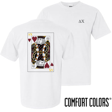 New! Delta Chi Comfort Colors White King of Hearts Short Sleeve Tee