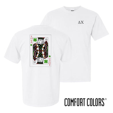 New! Delta Chi Comfort Colors White Short Sleeve Clover Tee