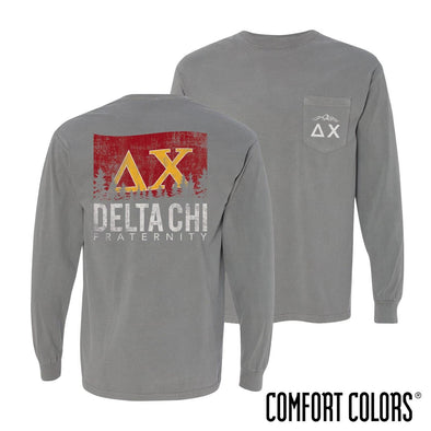 Delta Chi Gray Comfort Colors Flag Long Sleeve Pocket Tee