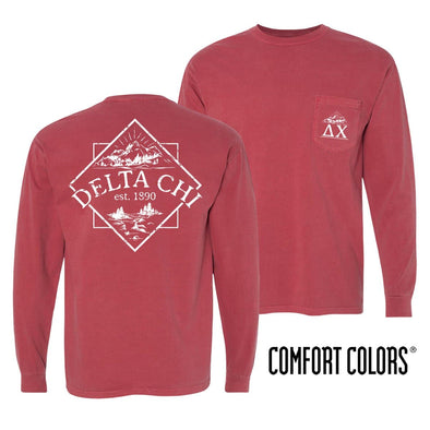 Sale! Delta Chi Crimson Comfort Colors Long Sleeve Pocket Tee