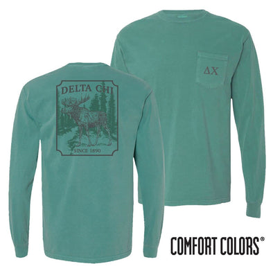 Delta Chi Green Comfort Colors Moose Long Sleeve Tee