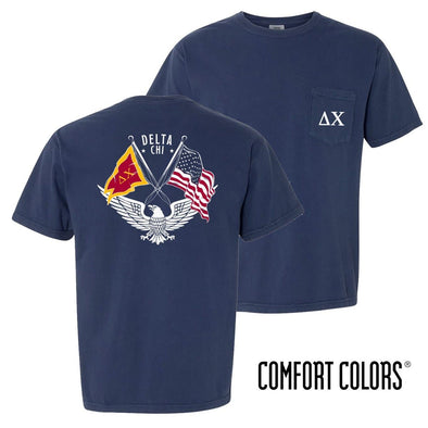 New! Delta Chi Comfort Colors Short Sleeve Navy Patriot tee