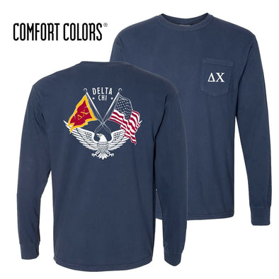 Delta Chi Comfort Colors Long Sleeve Navy Patriot tee