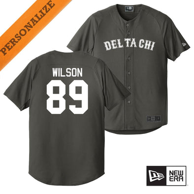 New! Delta Chi Personalized New Era Graphite Baseball Jersey