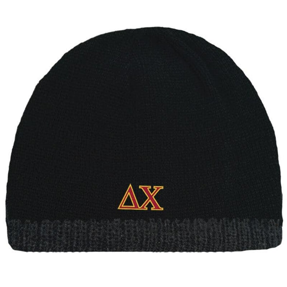 Sale! Delta Chi Black Knit Beanie with Fleece Lining