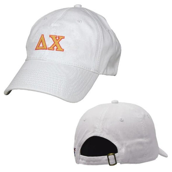 Delta Chi White Greek Letter Adjustable Hat