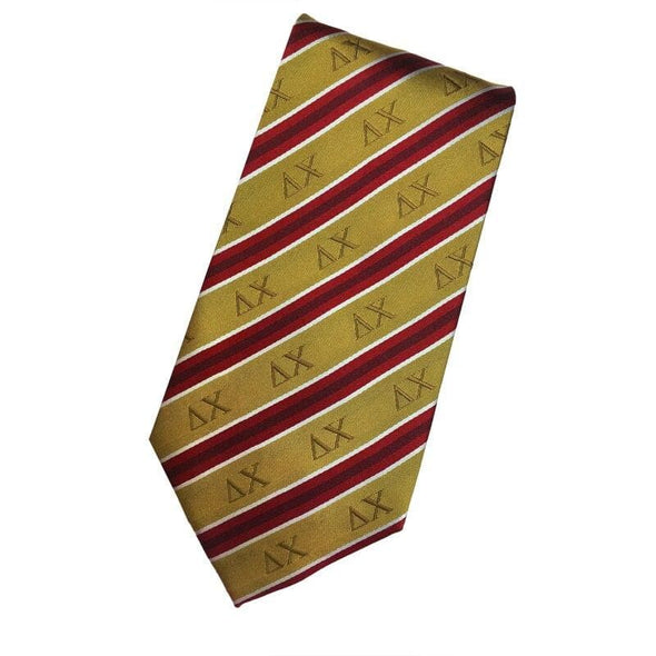 Sale! Delta Chi Gold and Red Striped Silk Tie