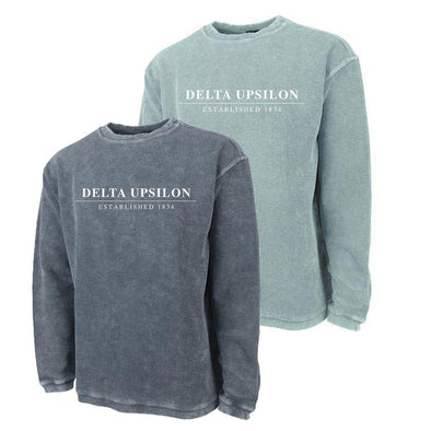 New! Delta Upsilon Charles River Corded Crew Sweatshirt