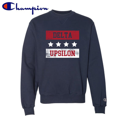 New! Delta Upsilon Red White and Navy Champion Crewneck