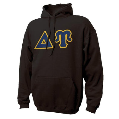 DU Black Hoodie with Sewn On Greek Letters