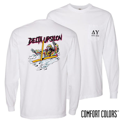 New! Delta Upsilon Comfort Colors White Long Sleeve Ski-leton Tee