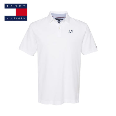 New! Delta Upsilon White Tommy Hilfiger Polo