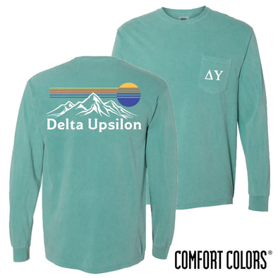 New! Delta Upsilon Retro Mountain Comfort Colors Tee