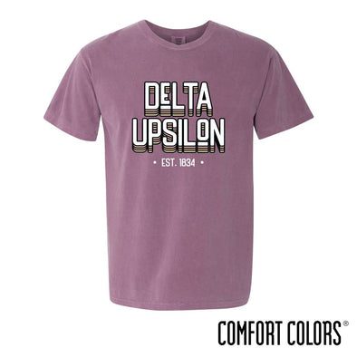 New! Delta Upsilon Comfort Colors Short Sleeve Berry Retro Tee