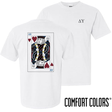 New! Delta Upsilon Comfort Colors White King of Hearts Short Sleeve Tee