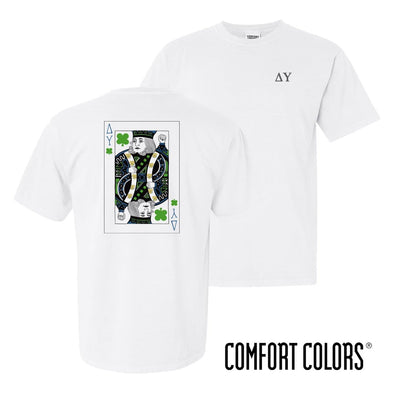 New! Delta Upsilon Comfort Colors White Short Sleeve Clover Tee