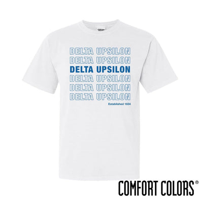 New! Delta Upsilon Comfort Colors White Thank You Bag Tee