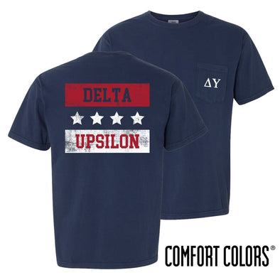 New! Delta Upsilon Comfort Colors Red White and Navy Short Sleeve Tee