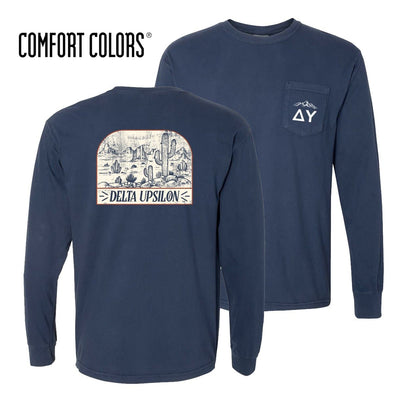 New! Delta Upsilon Comfort Colors Long Sleeve Navy Desert Tee