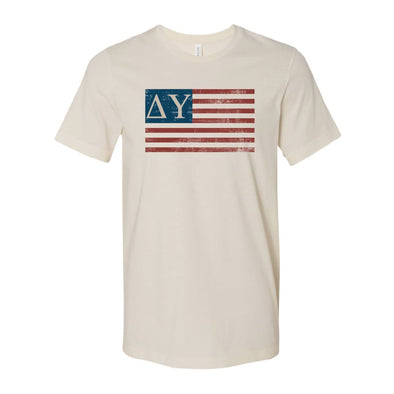 New! Delta Upsilon Natural Retro Flag Tee