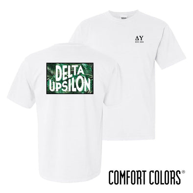 Delta Upsilon Comfort Colors White Short Sleeve Jungle Tee