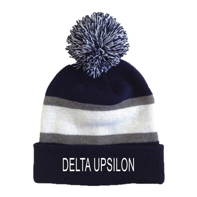 Delta Upsilon Striped Pom Beanie