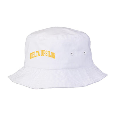 New! Delta Upsilon Title White Bucket Hat
