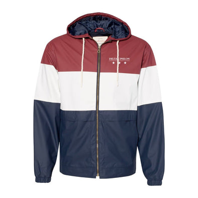 New! Delta Upsilon Color Block Rain Jacket