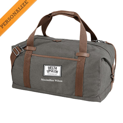 New! Delta Upsilon Personalized Gray Canvas Duffel
