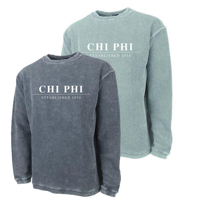 New! Chi Phi Charles River Corded Crew Sweatshirt