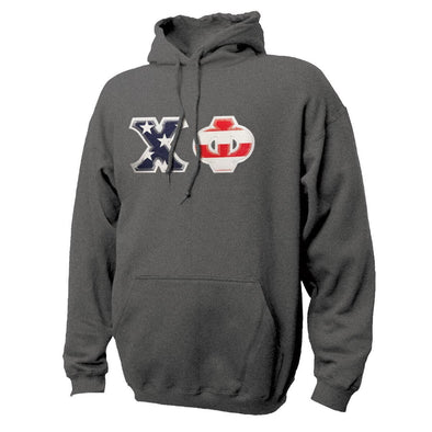Chi Phi Stars & Stripes Sewn On Letter Hoodie