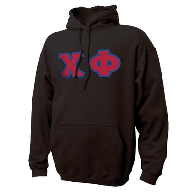 Chi Phi Black Hoodie with Sewn On Greek Letters