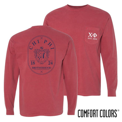 Chi Phi Comfort Colors Crimson Badge Long Sleeve Pocket Tee