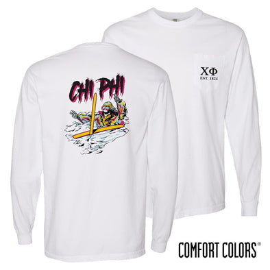 New! Chi Phi Comfort Colors White Long Sleeve Ski-leton Tee