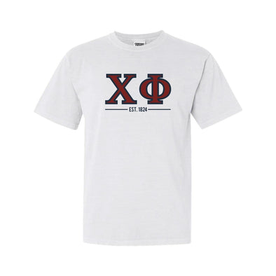 Chi Phi White Comfort Colors Greek Letter Tee