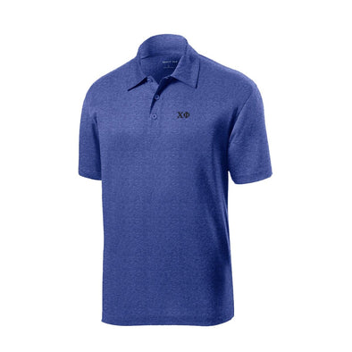 Chi Phi Heather Blue Performance Polo
