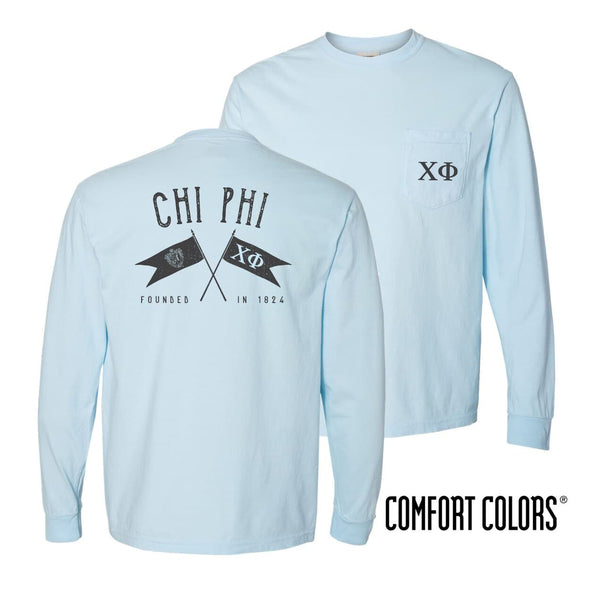 Chi Phi Light Blue Comfort Colors Long Sleeve Pocket Tee