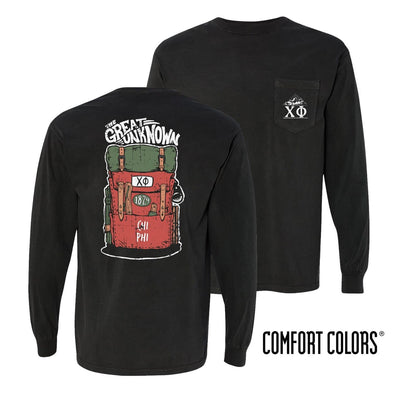 New! Chi Phi Black Comfort Colors Adventure Tee