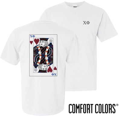 New! Chi Phi Comfort Colors White King of Hearts Short Sleeve Tee