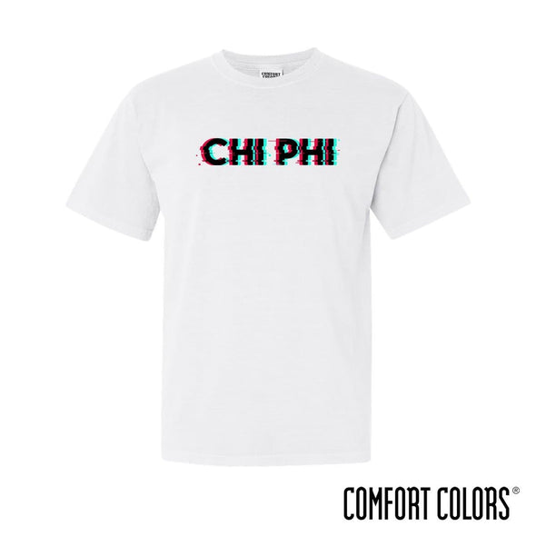New! Chi Phi Comfort Colors White Glitch Short Sleeve Tee