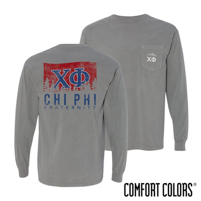 Chi Phi Gray Comfort Colors Flag Long Sleeve Pocket Tee