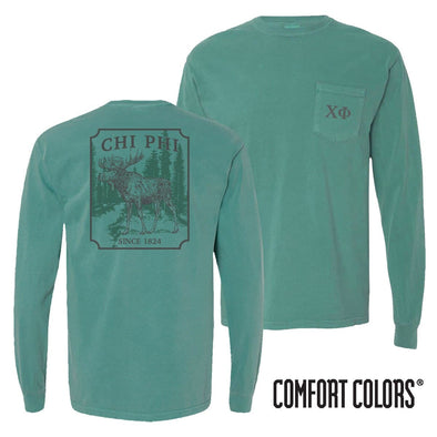 Chi Phi Green Comfort Colors Moose Long Sleeve Tee