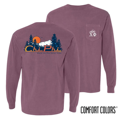 Chi Phi Comfort Colors Berry Retro Wilderness Long Sleeve Pocket Tee
