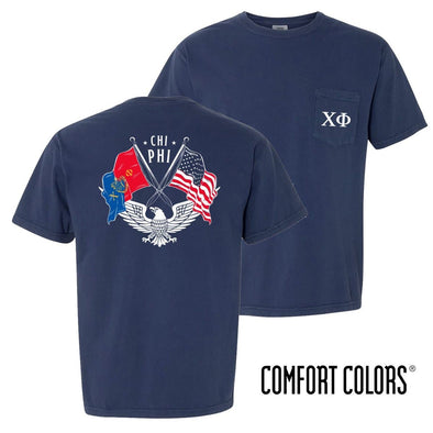 New! Chi Phi Comfort Colors Short Sleeve Navy Patriot tee