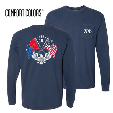 New! Chi Phi Comfort Colors Long Sleeve Navy Patriot tee