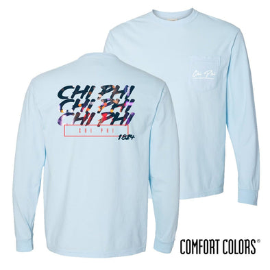 Chi Phi Comfort Colors Chambray Long Sleeve Urban Tee
