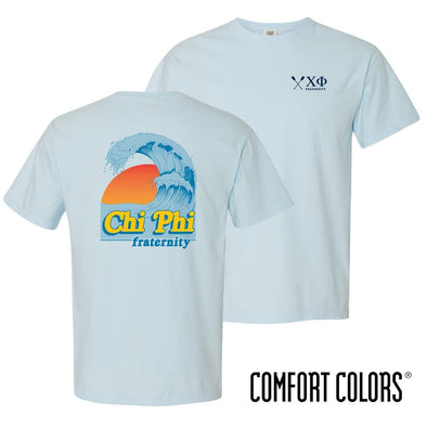 New! Chi Phi Comfort Colors Chambray Short Sleeve Retro Ocean Tee