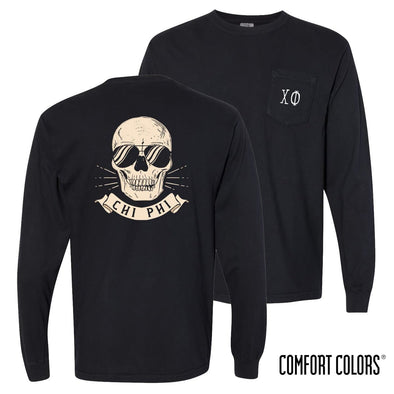 New! Chi Phi Comfort Colors Black Skull Long Sleeve Pocket Tee