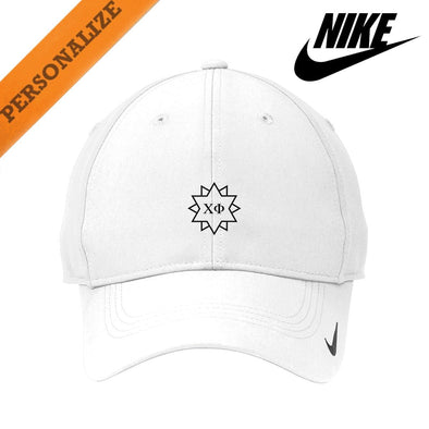 New! Chi Phi Personalized White Nike Dri-FIT Performance Hat