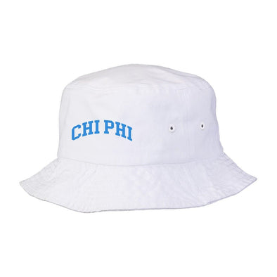 New! Chi Phi Title White Bucket Hat